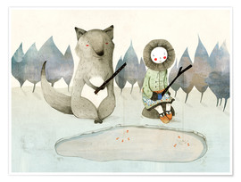 Póster  The Little Inuit Girl And The Wolf - Judith Loske