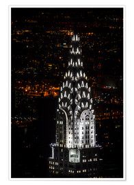 Póster Chrysler Building New York City by Night