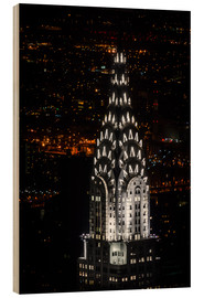 Cuadro de madera  Chrysler Building New York City by Night - Michael Haußmann