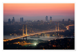 Póster  Bosporus-Bridge at Night (Istanbul / Turkey) - gn fotografie