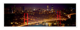 Póster Bosporus-Bridge at night - red (Istanbul / Turkey)