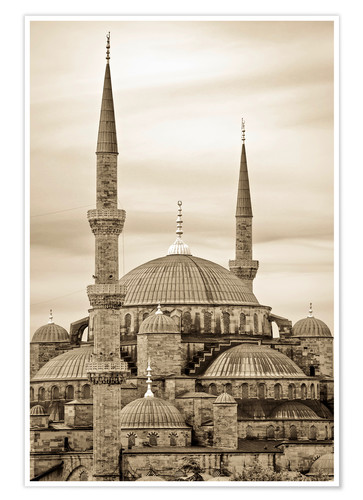 Póster the blue mosque in sepia (Istanbul - Turkey)