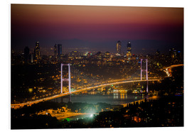 Cuadro de PVC  Bosporus-Bridge at night - pink (Istanbul / Turkey) - gn fotografie