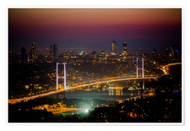 Póster Bosporus-Bridge at night - pink (Istanbul / Turkey)