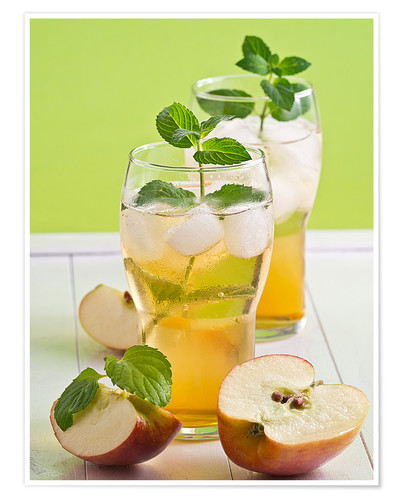 Póster Apple juice with fresh mint