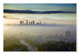 Póster  Los Angeles skyline in the morning mist - Walter Bibikow