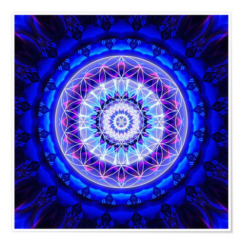 Póster Mandala safety with flower of life
