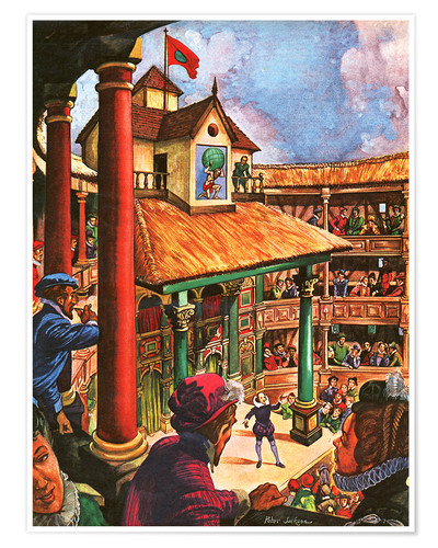 Póster Shakespeare performing at the Globe Theatre