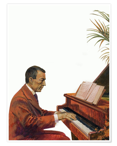 Póster Rachmaninoff playing the piano