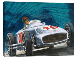 Lienzo  Juan Manuel Fangio conduce Mercedes-Benz - English School