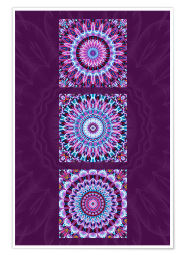 Póster Mandala Collage purple