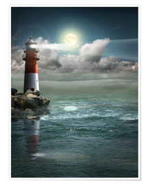 Póster  Lighthouse by moonlight - Monika Jüngling
