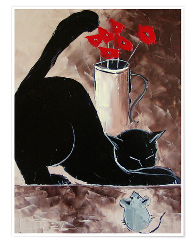 Póster Black cat and mechanical mouse