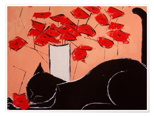 Póster Black cat with poppies