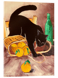 Cuadro de metacrilato  Black cat back from the market - JIEL