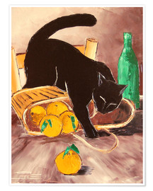 Póster Black cat back from the market