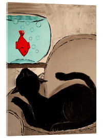 Cuadro de metacrilato  Black Cat with Goldfish - JIEL
