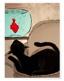 Póster Black Cat with Goldfish