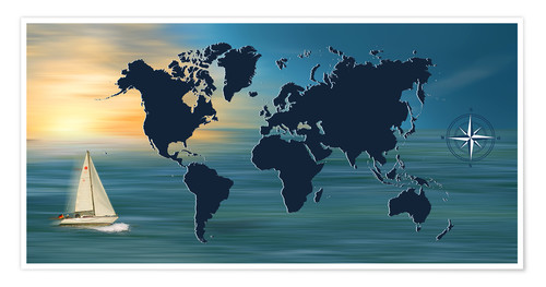 Póster Sailing around the world with world map