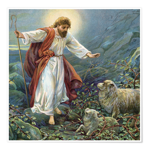 Póster Jesus Christ, the tender shepherd
