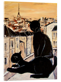 Cuadro de metacrilato  Cats love over the rooftops of Paris - JIEL