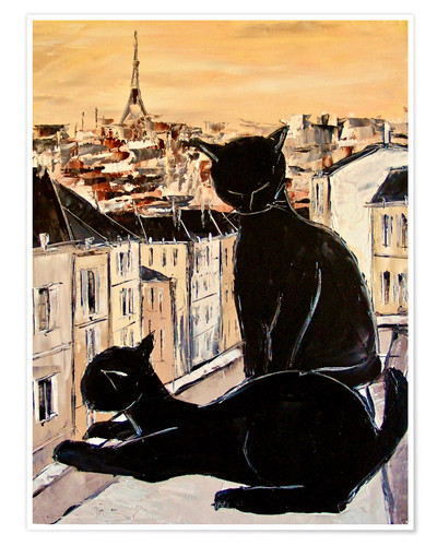 Póster Cats love over the rooftops of Paris