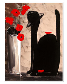 Póster  BLACK CAT WITH POPPIES - JIEL