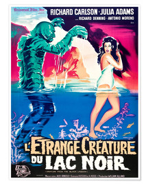 Póster CREATURE FROM THE BLACK LAGOON, on left: the Creature, played by Ben Chapman and Ricou Browning, on