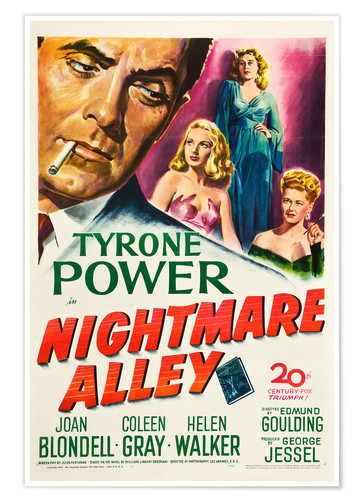 Póster NIGHTMARE ALLEY, from left, Tyrone Power, Joan Blondell, Coleen Gray, Helen Walker, 1947
