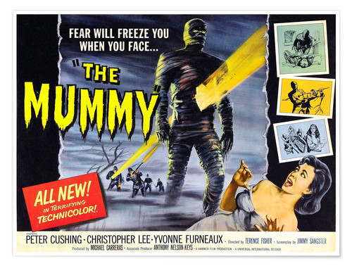 Póster The Mummy, Christopher Lee, Yvonne Furneaux