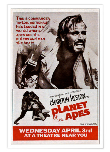 Póster PLANET OF THE APES, top: Charlton Heston, 1968