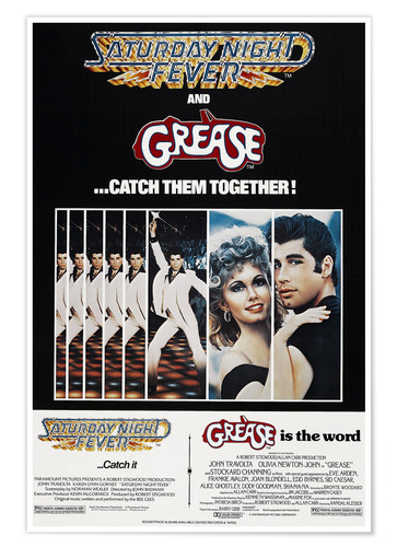 Póster Saturday Night Fever / Grease