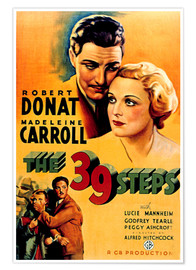 Póster 39 STEPS, THE, Robert Donat, Madeleine Carroll, 1935