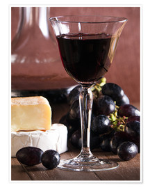 Póster  Cheese platter with wine - Edith Albuschat