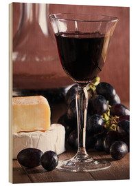 Cuadro de madera  Cheese platter with wine - Edith Albuschat