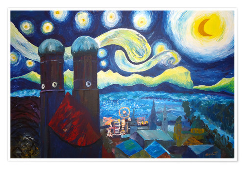 Póster Starry Night over Munich inspired by Vincent Van Gogh