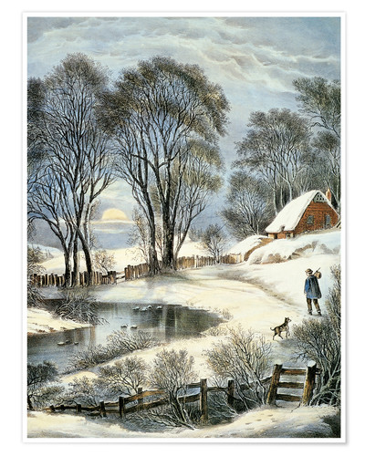 Póster Currier & Ives: Winter Moonlight.