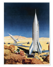 Póster  Mars Mission, 1950s. - Chesley Bonestell