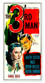 Póster The third man, left to right: Alida Valli, Joseph Cotten in US in 1949