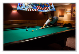 Póster  President Barack Obama plays a game of pool