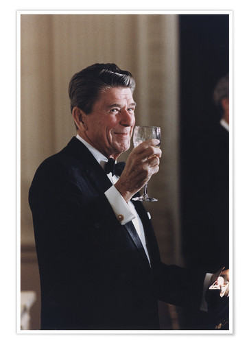 Póster Ronald Reagan with wineglass