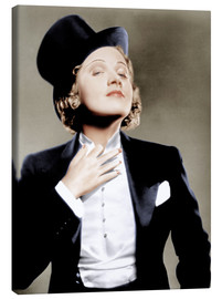 Lienzo  Marlene Dietrich with a suit and cylinder