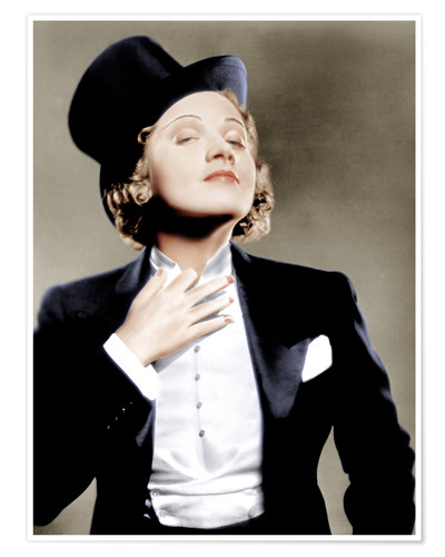 Póster Marlene Dietrich with a suit and cylinder
