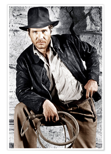 Póster Harrison Ford with hat and lasso