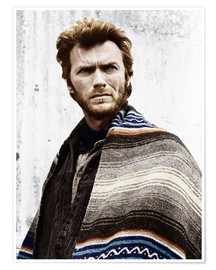 Póster Clint Eastwood with a poncho