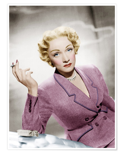 Póster Marlene Dietrich, wearing a suit by Christian Dior