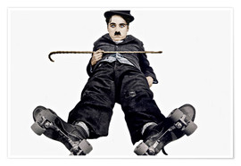 Póster Charlie Chaplin with roller skates