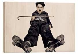 Cuadro de madera  Charlie Chaplin with roller skates