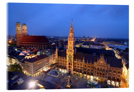 Metacrilato  Church of our Lady and the new town hall in Munich at night - Buellom