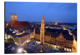 Cuadro de aluminio  Church of our Lady and the new town hall in Munich at night - Buellom